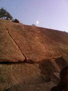 left to right in photo: sweat (5.6, harder if you have small hands) and pro sweat (5.9, heading up the slab). sweet moon.