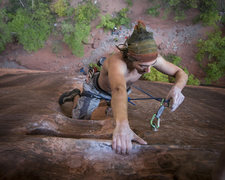 Rock Climbing Photo: Last clip before the anchor.
