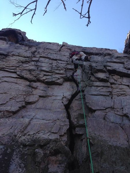 Rock Climbing Photo: Classy butt shot of my lead in a webbing harness.