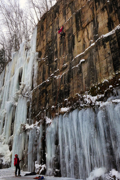 Rock Climbing Photo: Dave Rone and Orhun Kantarci on Slight of Hand. No...