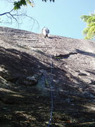 Rock Climbing Photo: On the Variation - The climber approaches the clea...