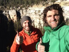 Rock Climbing Photo: Choss eating grins. Jeff and I after topping out o...