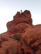 Rappel at dusk. Queen Victoria, Sedona.