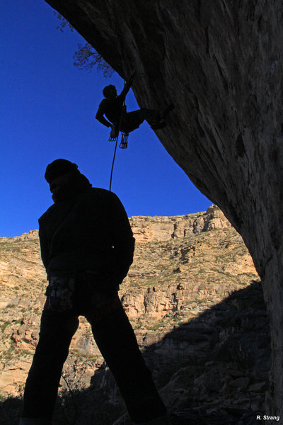 Ed and Mike enjoying the Hueco Cave - Thankgiving 2014 on the route<br> Vertigo (5.13)