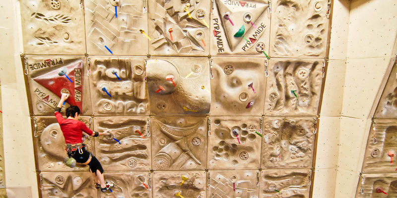 Rock Climbing Photo: Lead climbing on world cup Pyramide wall