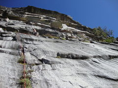 Rock Climbing Photo: Contemplating a strategy for attacking the upper r...
