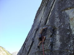 Rock Climbing Photo: Picking my way up the first pitch of Pigs on the W...