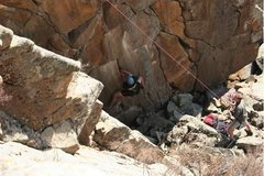Rock Climbing Photo: Trying the lower moves of the 5.12+/5.13- project....