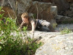 Rock Climbing Photo: The Canadian slipping without proper rock shoes.