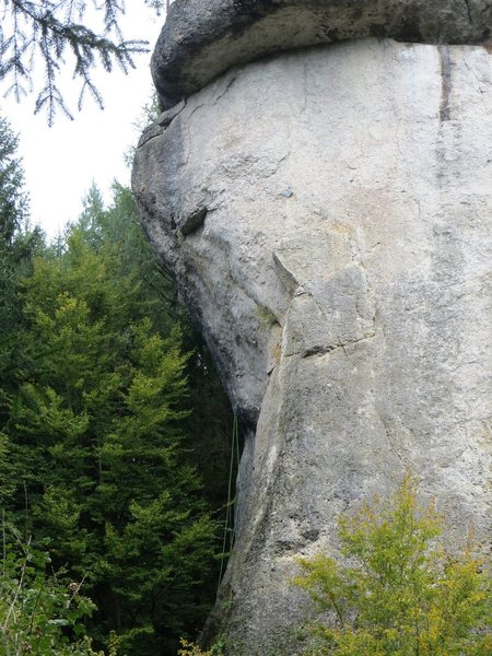 Rock Climbing Photo: The west face of Rabenfels in profile.  The green ...