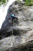 Rock Climbing Photo: The crux mono deadpoint.