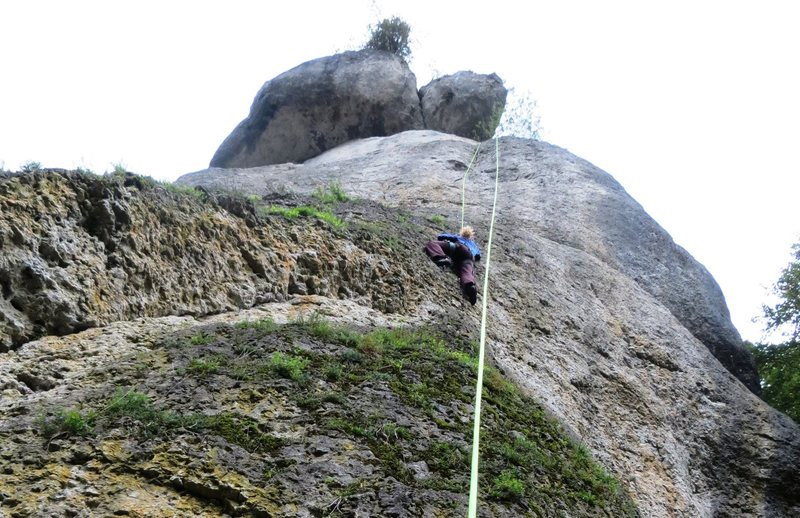 Rock Climbing Photo: Despite the mossy appearance, the rock is clean ev...