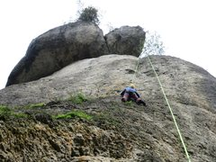 Rock Climbing Photo: Resting before the crux.  The obvious upper roof c...