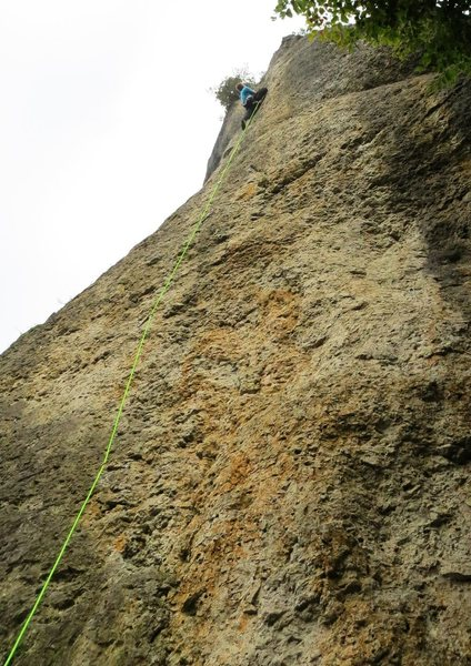 The crux section.  The rock is still quite featured, but the holds are further apart and the wall is a bit steeper.