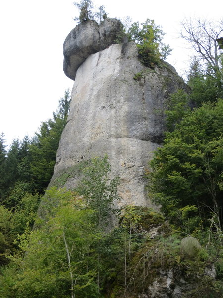 The southeast face of Rabenfels.  Auerbacher Weg climbs the margin between white and dark gray rock just right of center.