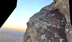 Rock Climbing Photo: tiptoeing above the sunset up high on the route