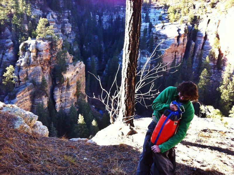 Rock Climbing Photo: Bag O Tricks above the frozen Ultimates.