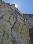 Rock Climbing Photo: Making the traverse into the overhanging crack tha...