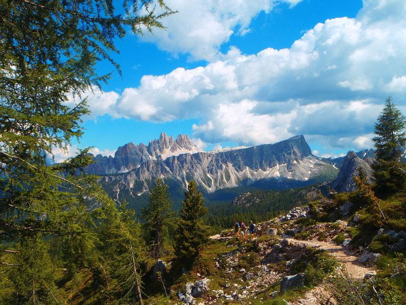Lastoni di Formin (front cliff) with Croda da Lago peaks behind. Photo taken from Cinque Torri group.
