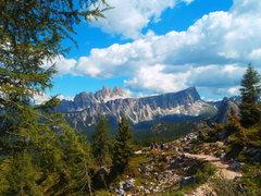 Rock Climbing Photo: Lastoni di Formin (front cliff) with Croda da Lago...