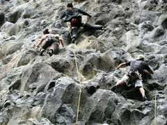 Rock Climbing Photo: Traffic jam on a busy weekend at Cuyuja Crag, one ...