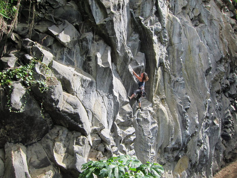 Karla Reigler on a short 6a closest to the camping area.