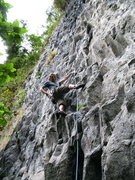Rock Climbing Photo: Eli leading Bongoso (6b) at Cuyuja Crag.