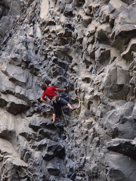 "Rock Climbing Photo: Eli on his route ""Bat Crack"" 5.11 at the..."