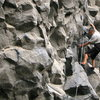Willy Navarette, Banos local and father to two climbing aces getting it done on a long 5.12 at the zoo.
