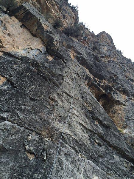 Looking up the climb - no name