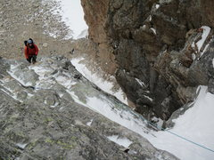 Rock Climbing Photo: Billy working up the turf ledge after topping the ...