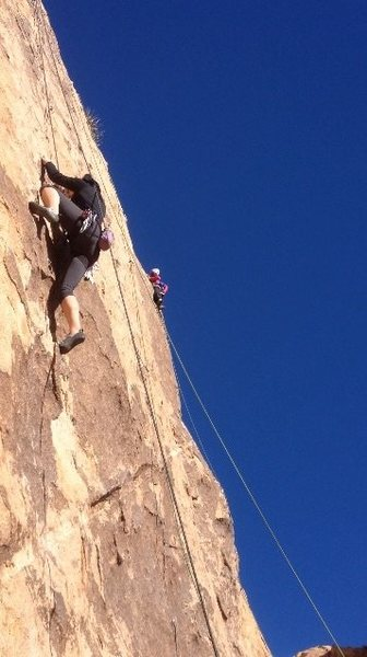 Amy Sturdivant on Yasmine Bleeth 5.9 and another climber two routes over on George's Route 5.8