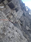 Rock Climbing Photo: Looking back and down at the steep corner to trave...