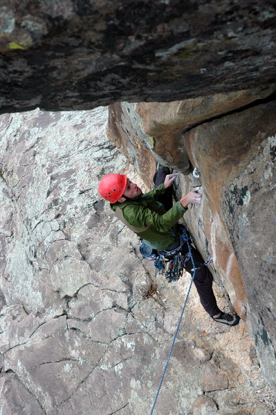 Rock Climbing Photo: Aaron getting the onsight on G&P.