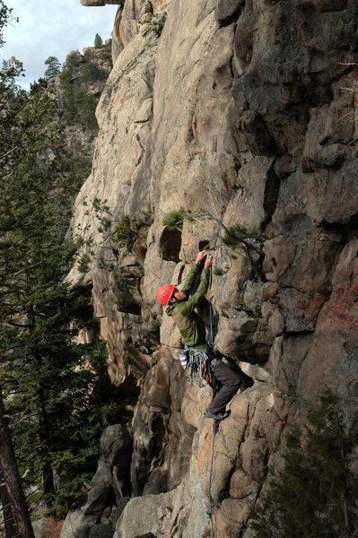 Rock Climbing Photo: Aaron starting Fancy Free.