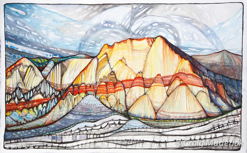 """Rock Climbing Photo: Mt. Wilson - 22"""" x 14"""" - pen/ink/waterco..."""