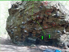 Rock Climbing Photo: Green arrows point to start holds.