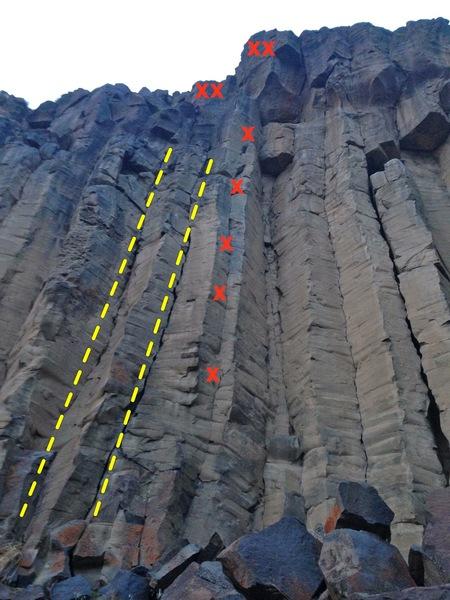 Rock Climbing Photo: The route on the left.  Flying Circus in the middl...