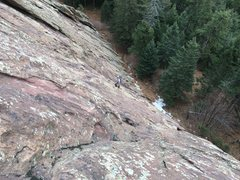 Rock Climbing Photo: Looking down from a full rope-length up. My partne...