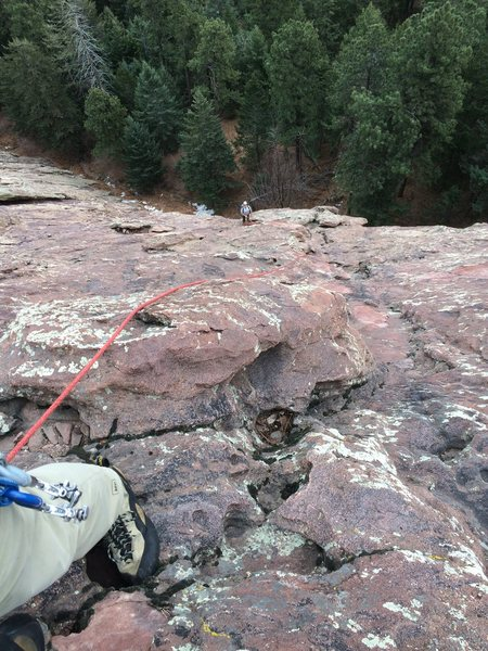 Looking down a second full rope-length up. Things are easier, but there still isn't hardly any pro.