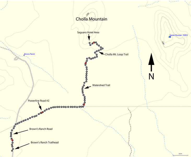 Hiking route to Cholla Mountain climbs