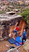 Rock Climbing Photo: Brad working the slot on Orangutang.