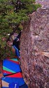Rock Climbing Photo: Brad reaching the good left hand edge on Cue the C...