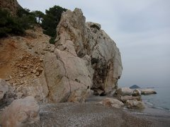 Rock Climbing Photo: Akyarlar crag on the right, approach gully on the ...