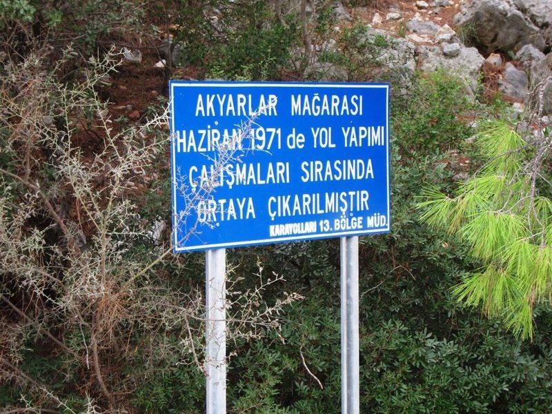 Akyarlar cave sign at parking lot