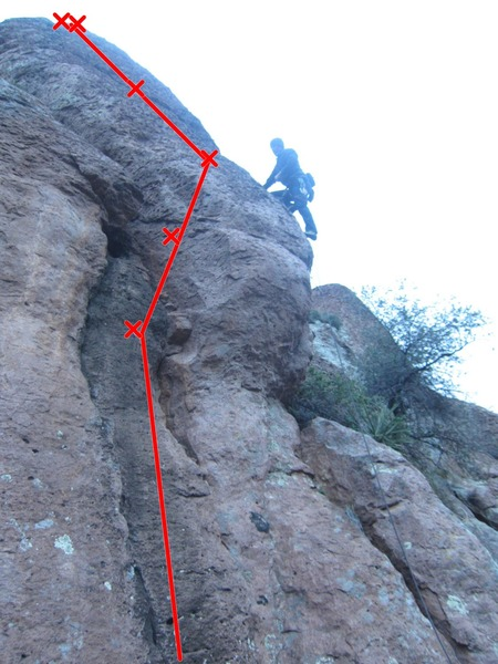 Climber is on Battle of the Bulge, Turkey in a Blender is the bolt line going up the chute to the left of the bulge.