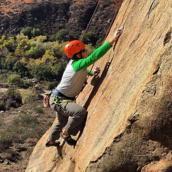 Rock Climbing Photo: BJ Cook on Orange Walk working through crimpy hold...