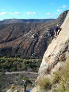 Rock Climbing Photo: James Clark after rounding the corner to the first...