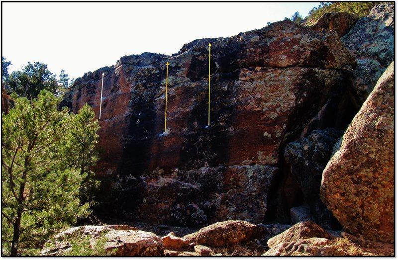 Rock Climbing Photo: Ponce De Leon problem beta in yellow.