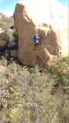 Rock Climbing Photo: Exciting hand-foot match toward the top.